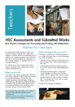 Advice to teachers – HSC Assessments and Submitted Works