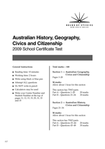 Australian History, Geography, Civics and Citizenship Specimen Tests